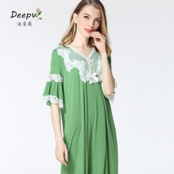 Free Shipping 2017 New Frincess Style Nightdress Women's Cotton Long Nightgown Home Wear Nightshirt L17046
