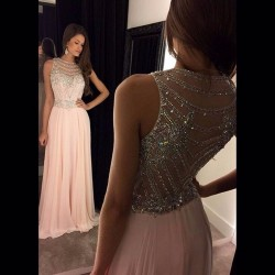 Pinlk Long Prom Dresses Rhinestones Gala Dresses 2017 SoDigne Beaded Hot Sale A-line Chiffon Nude Back Girls Dress To Party