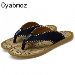 Cyabmoz Brand Men Slippers High Quality Genuine Leather Male Slippers Handmade Sewing Flip Flops Beach Shoes Fashion Sandals