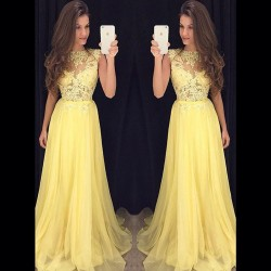 Yellow Robe De Soiree 2017 A-line High Collar Cap Sleeves Chiffon Lace See Through Long Prom Dresses Prom Gown Evening Dresses