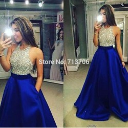 New Halter Beaded Long Prom Dresses Backless Party Dress Silver Sequins Royal Blue Satin A line Evening Gowns 2017 W1705046