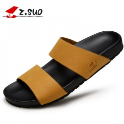 Z. Suo Summer men's Slippers,leisure Beach Slippers,Rubber soles Waterproof Non-slip sandals.Sandalias DE cuero DE los hombres