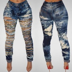 QA929 New arrival retro hole chain denim ripped jeans femme fashion cool mid waist plus size women pants trousers