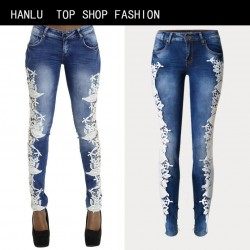 HANLU Fashion Women's Trousers  Full Length Skinny Pencil Pants European and American wind splicing lace Low waist jeans