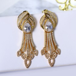 Large Dangle earrings Gold and White color Setting Bright Cubic Zirconia Women Jewelry for Bridal Wedding party