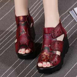 Nice Ethnic Style Genuine Leather Women Shoes Sandals Wedges Sandals Handmade Genuine Leather Women Sandal