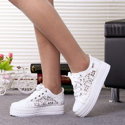 Nice Summer New Women Shoes Casual Cutouts Lace Canvas Shoes Hollow-Out Floral Breathable Platform Flat Shoe Black White