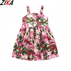 ZIKA Flower Girls Dress 2017 Brand Princess Dress Fashion Style Rose Printed Design Sundress For Girls Summer Clothes Size 3-12T