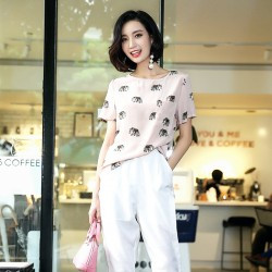 Silk T Shirt Women 2017 Summer New Fashion Elephant Animal Printed O-Neck Short Sleeve Pink T-Shirt Top Female