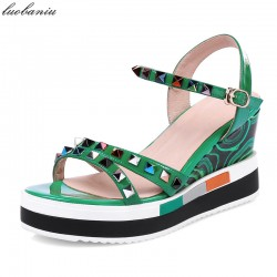 Genuine Leather Rivet Wedges Sandals Women Top Quality Women Sandals Platform Green Red