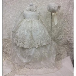 2017 Long Christening Dresses For Baby Girl With Long Sleeves Baptism Gown Sequined Tulle Lace Appliqued Kids Birthday Gown