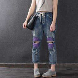 Women Summer Loose Elastic Waist Jeans 2017 Retro Denim Trousers Ripped Vintage High Quality Slim-type Female New Denim Pants