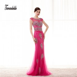 Sheer High Neckline Mermaid Rose Tulle AB Stones Hand Beading Prom Dress Bling Bling Long Evening Gowns