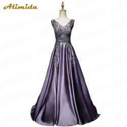 ALIMIDA Long Evening Dress 2017 Elegant Banquet Dress Purple Prom Dresses Appliques Beading Party Dress V-Neck robe de soiree