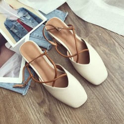 New Summer Women Shoes Closed toe medium heels sandals Cross Strappy square toe thick Heel Shoes