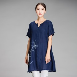 2017 Women Summer Loose long Linen T shirt Plus Size Chinese style bamboo Hand Painted V-Neck tees 4 colors big size tops XXXXXL