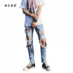 2017 New Men Light Blue Jeans Big Hole Destroyed Ripped Design Fashion Ankle Skinny Jeans For Men