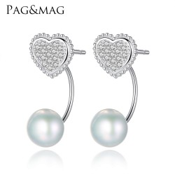 PAG&MAG Brand Love Heart 925 Sterling Silver Stud Earrings with Natural Pearl Romantic Fine Jewelry Women Earring Silver Factory