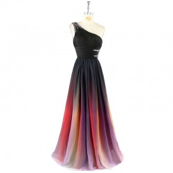 Prom Dress New Gradient Colorful Cheap Dresses Ombre Chiffon Evening Dress Strapless with Pleats Women Dress 2017