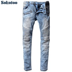 Sokotoo Men's dirty blue pleated biker jeans for motorcycle Casual stripe stretch denim pants