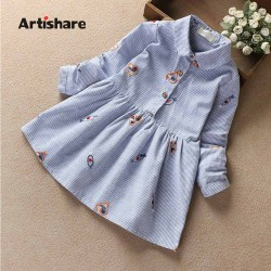 Artishare High Quality Girls Dress 100% Cotton Baby Girl Clothes Long Sleeve Heart Embroidery Dress For Kids Clothes