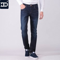 Dingdi Jeans Male Designer Clothing Deep Blue Regular Jeans For Men Straight Fit Mens Jeans
