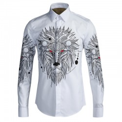 High quality fashion Lion head design Black White cotton shirt 2017 Autumn Long sleeve slim fit men Brand clothing casual shirts