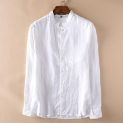 2017 New Fashion Men's Mandarin Collar Long Sleeve White Linen Shirt Men Summer Linen Cotton Shirts Men Casual Shirt Size M-2XL