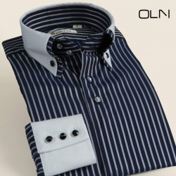 2017 Winter New Arrival Stripe Long-sleeve Shirt Male Double Collar Patchwork Small Collar Fashion 100% Cotton Shirts