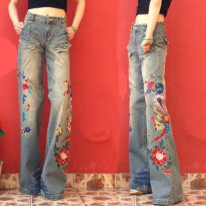 Fashion Brand Women's High Waist Embroidery Jeans Woman Wide Leg Jeans Pants Lady Casual Loose Blue Denim Jeans Trousers