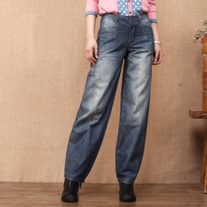 Unique Design 2016 Women's Loose Wide Leg Pants Spring and Autumn Straight Denim Bloomers Jeans