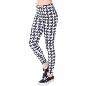 Women/Gilrs Funny Basic Leggings Lady Casual Town Wear Pant 3D Black white Houndstooth/Owl Printing Slim Trousers