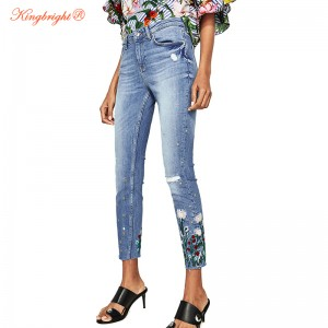 King Bright 2017 Floral Embroidery fashion ripped washed mid-waist skinny full-length pants 2017 new spring women blue  jeans