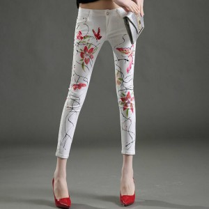 2017 new spring and summer Fashion casual skinny cotton high waist Elastic Flowers young female women girls pencil pants jeans
