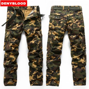 Denyblood Jeans 2016 Brand New Mens Camouflag Military Cargo Pants Multi-pockets Baggy Men Casual Pants Twill Pants 672