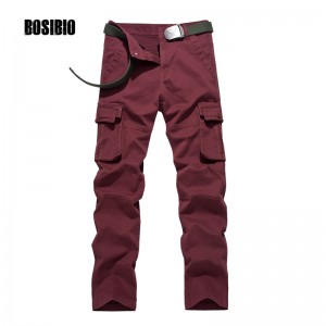 2017 Mens Cargo Pants Cotton Multi Pockets loose Military Style Casual Pants Army Green Khaki Wine Red Solid Size 29-40 BD8109F