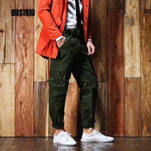 Mens Cargo Pants Military Style Spring Summer 100% Cotton Army Green Tactical Clothing With Belt Multi Pocket Male Trousers 275