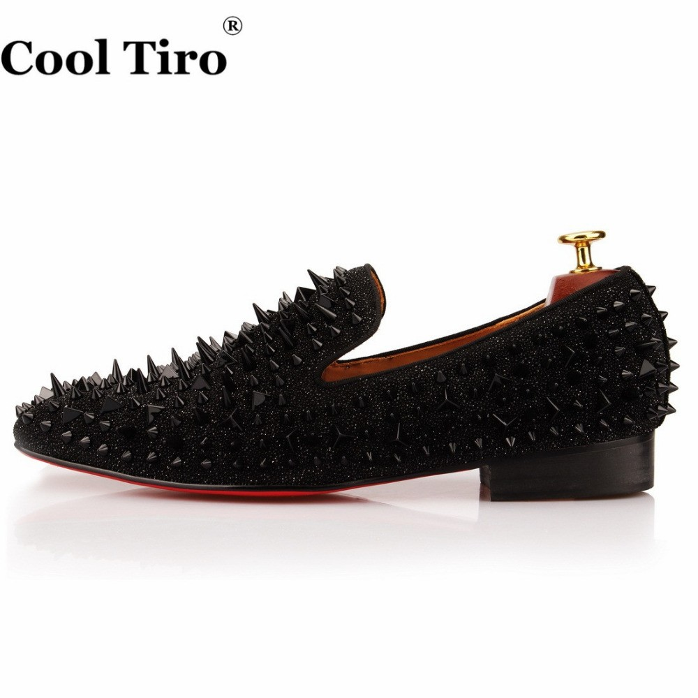 COOL TIRO Black Spikes Rhinestones Glitter Men Loafers Smoking Slipper  Casual Shoes Wedding Dress Men s Flats Genuine Leather c072688fcd1c